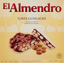 El Almendro Round Crunchy Almond Chocolate, Caramel Turron, 200g