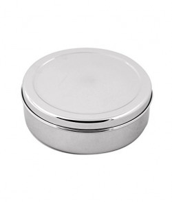 Jagani Stainless Steel Kitchen Flat Canister / Container / Dabba, 1550 Ml / 18.2 cm, Mirror Polish, Silver