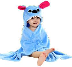 BRANDONN Blue Premium Hooded Flannel Baby Blanket For Babies