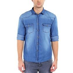 Dennis Lingo Men's Denim Medium Blue Solid Casual Shirt C501_MEDIUMBLUE_S