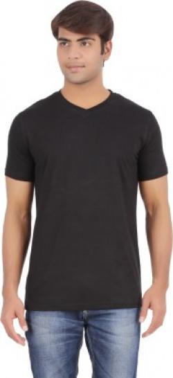 Ap'pulse Solid Men's V-neck Black T-Shirt