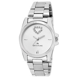 Swisstone HART212-SLV-CH Crystal Studded Silver Dial Stainless Steel Chain wrist watch for Women/Girls