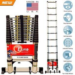 [ Best seller ] Euro Telescopic Aluminium ladder 4.4 mtr (14.5 feet) - Stores at 3.2 feet - Aircraft grade Aluminium - New Tip N Glide Wheels & Ultra Stabilizer - Portable - Soft close