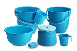 All Time 7 Piece Plastic Bathroom Set, Blue