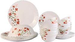 Larah Janus Opalware Glass Dinner Set, 25-Pieces, White