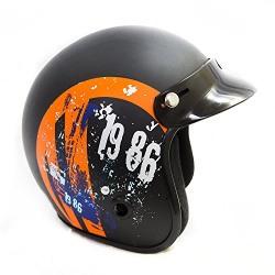 Autofy Power Front Open Helmet (Black and Orange, M)
