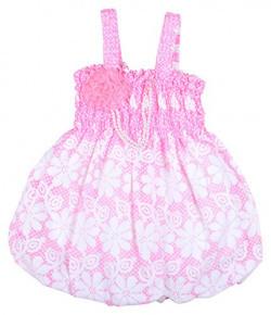 Kuchipoo Baby Girls' A Line Dress (KUC-FRK-155--6-12 Months, Pink & White, 6-12 Months)