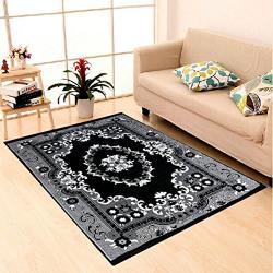 IWS Ethnic Velvet Touch Design Modern Chenille Carpet - 55 x84 , Black
