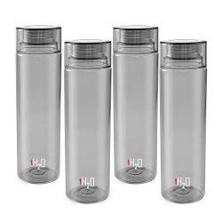 Cello H2O Unbreakable Premium Edition Bottle, 1 Litre, Set of 4, Grey