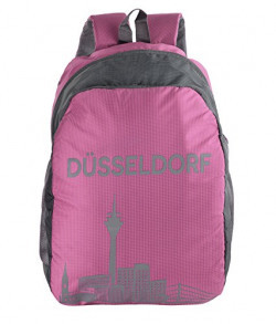 Dussledorf Polyester School Backpack with Laptop Compartment and 2 Bottle Pocket under 18-14.3, Color:-Pink