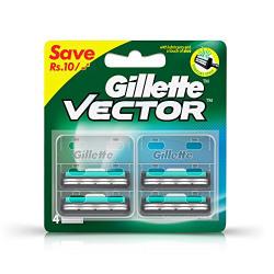 [Free Sample Next Time] Gillette Vector Plus Manual Shaving Razor Blades (Cartridge) - 4s Pack