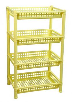 Logic Deluxe 4 Shelf Storage/Multi Purpose/Kitchen/Living Room/Rack - Yellow