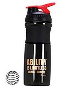 IShake Kool Plastic Shaker Bottle, 700ml (Black/Red)