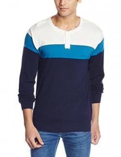People Men's Cotton Sweater (8907496062968_P10101189356015_Medium_Ecru, Turquoise and  Navy)
