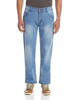 Urban District Men's Slim Fit Jeans (UDBD296_32W x 34L_Light Blue)