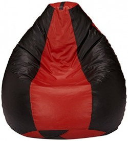 Solimo XL Bean Bag Cover without Beans (Red and Black)