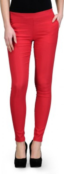 Oleva Slim Fit Women's Red Trousers