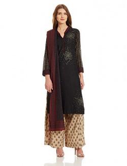 Biba Women's Straight Salwar Suit (SKD4808_Black_32)