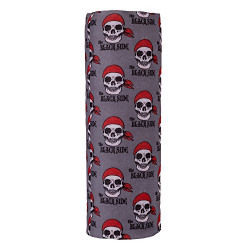 Autofy Unisex Pirate Skull Lycra Headwrap for Bikes (Grey and Red, Free Size)