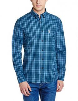 US Polo Men's Casual Shirt (8907378321459_USSH4377_L FS_Green)