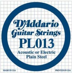 D'Addario PL013 Single Plain Steel .013 Guitar String, Set Of 3