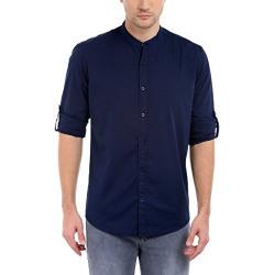 Dennis Lingo Men's Solid Casual Full Sleeves Slim fit Navy Blue Cotton Shirt-C201_4_L