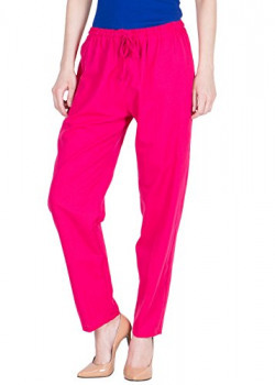 LUJOSO Solid Regular Fit Cotton Palazzo Pant For Women's