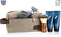 Spruce Shave Club Loaded 5X Traveller (Travel Kit, Razor + Pack of 4 Cartridges, Gel, Balm, Brush) (Tea Tree Oil & Aloe Vera Shave Gel)