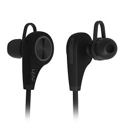 Leaf Ear Wireless Bluetooth Earphones with Mic (Carbon Black)- Sweatproof Earbuds || Best for Listening Music, Running, Gym || Passive Noise Cancellation || HD Stereo Sound Quality || Compatible with Iphones, IPads, Samsung and other Android Devices