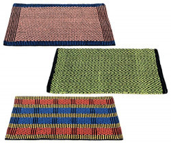 Story@Home Traditional Style Eco Series Crochet 3 Piece Cotton Blend Door Mat Set - 16 x 24 , Multicolour