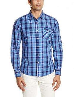 People Men's Casual Shirt (8903880621810_PMWFS13CR115213_42_Office Blue)