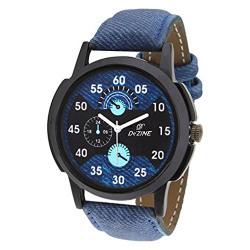 Dezine Analogue Blue Dial Mens Blue Leather Watch - DZ-GR060-BLU-BLU