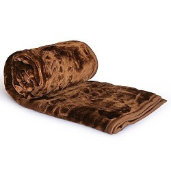 Little India Luxurious Embossed Korean Mink Double Blanket - Coffee Brown (DLI4SBK212)