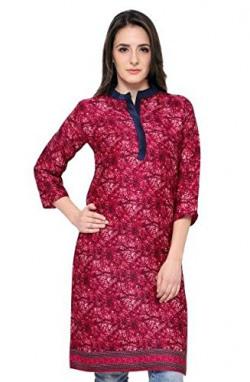 Eternal Women's Dark Pink Printed Pashmina Knee-Length Kurti With Pocket( TSFPS002-PINK_L, Dark Pink, Large)