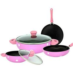 Unison Non Stick Cookware Set, 6 Pieces - Pink