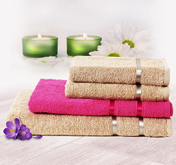 Story@Home His and Her 4 Piece 450 GSM Cotton Towel Set - Paradise Pink and Beige