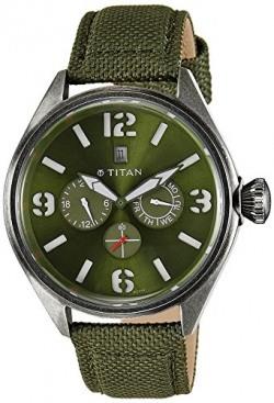 Titan Purple Multi-Function Analog Green Dial Men's Watch - 9478QF03J