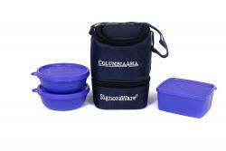 Signoraware Elegant Plastic Lunch Box with Bag, Deep Violet
