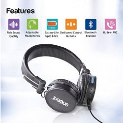 Envent LiveFun 550 Stereo Bluetooth Headphone With Mic, Foldable over the Ear Wireless Headphones with great quality sound & comfort