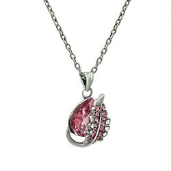 Mahi Rhodium Plated Exquisite Crystal Heart Pendant with Chain for women PS1101604RPin