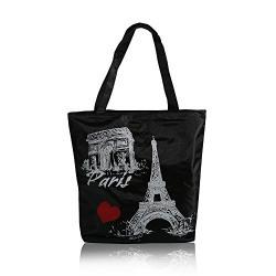 mStick Women's Zipped Fashion Canvas Tote Large Space Zipper Hand Bag - Heart Eiffel