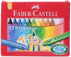 Faber-Castell Wax Crayon Set - 75mm, Pack of 12 (Assorted)