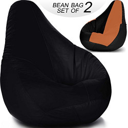 Story@Home BB_1405-1403 Bean Bag without Beans, Set of 2 (Tan and Black)