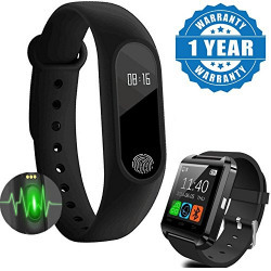 Captcha One Plus 3T Compatible Certified Smart Band With Bluetooth/Heart Rate Sensor/Sleep Monitoring/Pedometer & U8 Android Os Smart Watch (1 Year Warranty)