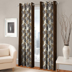 Warmland Floral 2 Piece Eyelet Polyester Long Door Curtain Set - 9ft, Multicolour