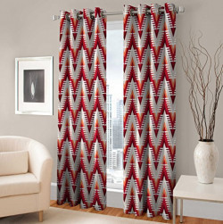 Warmland Floral 2 Piece Eyelet Polyester Window Curtain Set - 5ft, Multicolour