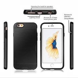 Bracevor Dual Layer Card Slot Shimmer Back Case Cover for Apple iPhone 6 6s 4.7  - Jet Black