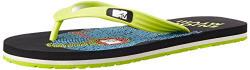 MTV Men's Black and Lime Green Flip Flops Thong Sandals - 8 UK