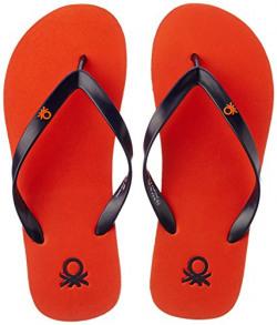 United Colors of Benetton Men's Basic 1 Orange and Navy Flip-Flops and House Slippers - 8 UK/India (42 EU)