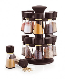 Floraware 16-Jar Revolving Spice Rack Masala Box, Dark Brown,Plastic
